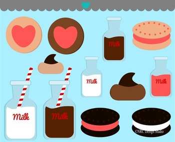 Milk and Cookies Valentine Clip Art
