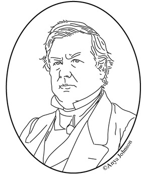 Millard Fillmore (13th President) Clip Art, Coloring Page