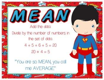 Min-Max-Median-Mean-Mode-Range Posters - Superhero Themed