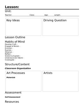 Mind-Centered Lesson Template for ART (blank)