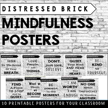 Mindfulness Posters (Distressed Brick/Graffiti style)