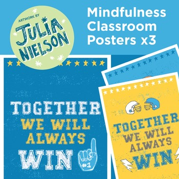 Mindfulness posters x3 - Together we will always win (blue