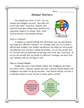 Mindset Matters: Reading Comprehension Passage with CCSS A