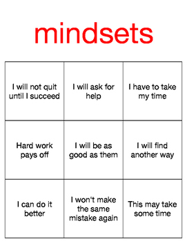 Mindsets BINGO game- 20 pages, ready to use-
