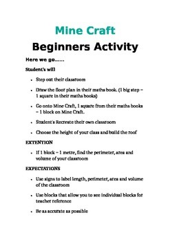 MineCraft Beginners Activity