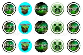 Minecraft - 1 inch circle - Bottlecap Image - Bingo Chips