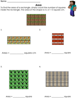 FREE Minecraft Area Worksheet