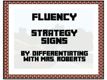 Minecraft CAFE Fluency Strategy Signs