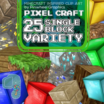 Minecraft Clip art- Pixel Craft Variety Blocks