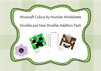 Minecraft Colour by Number - Addition Doubles and Near Doubles