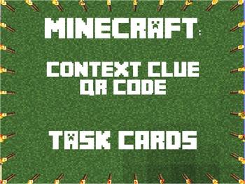 Minecraft Context Clues QR Task Cards - Explanations & MUC
