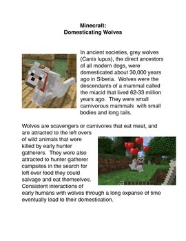 Minecraft: Domesticating wolves Common Core activity
