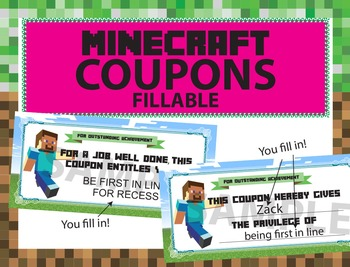 Minecraft Reward Coupons: Blank Editable/fillable