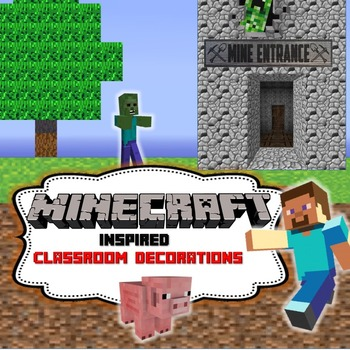 Minecraft  Inspired Mega Bundle  Classroom Decor-Editable!