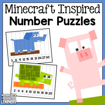 Minecraft Inspired Number Puzzles - Skipping Numbers