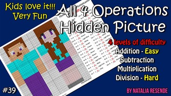 Minecraft- Mystery Picture - 4 operations - Four level difficulty