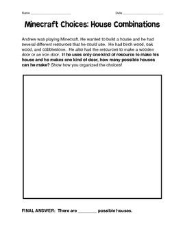 Minecraft Problem Solving: Combinations Problems