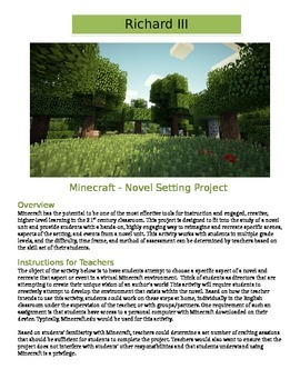 Minecraft - Richard III: Novel Setting Activity