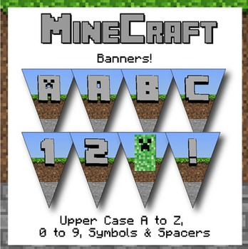 Minecraft Themed Banners! Letters, Numbers & Symbols