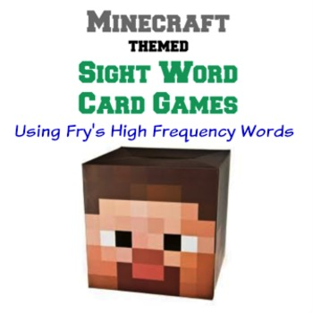 Minecraft Themed Sight Word Card Games - Fry's High Freque