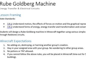 MinecraftEDU Rube Goldberg Machine: Energy Transfer and Si