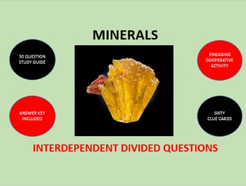 Minerals: Interdependent Divided Questions Activity