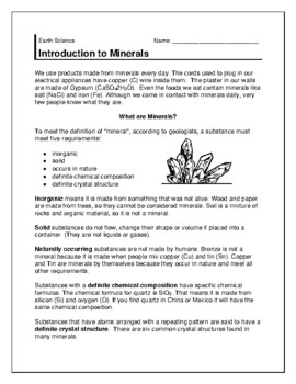 Minerals Introduction/ Lab/ Hardness/ Ores Packet