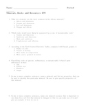 Minerals Rocks and Resources Homework