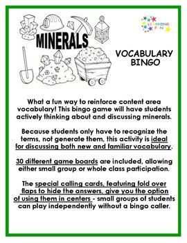 Minerals Vocabulary Bingo