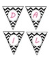 Mini Banner-DAILY SCHEDULE in Black & White Chevron and Ho