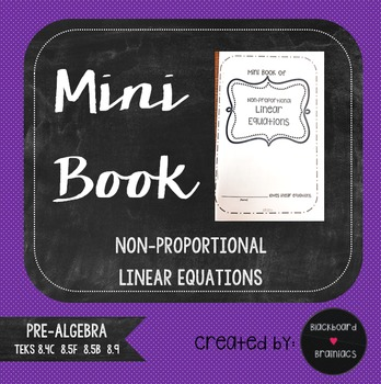 Mini Book Foldable Non Proportional Linear Equations Revie