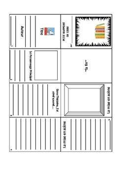 Mini Book Report in french- petit rapport de livre