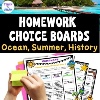 Homework Choice Board or Grid: Beach, Summer, Aus/ US Hist