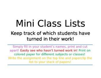 Mini Class Lists