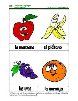 Mini Flashcard Set - frutas y vegetales / Fruits and vegetables