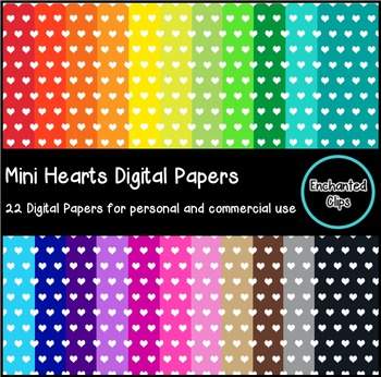 Mini Hearts Digital Papers- 22 Papers for Personal and Com