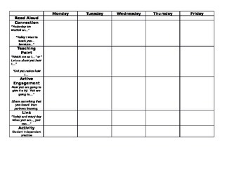 Mini Lesson Planning Template