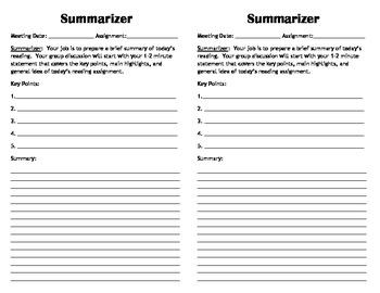 Mini Literature Circle Role Sheets
