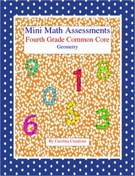 Mini Math Assessments - Geometry - Fourth Grade Common Core