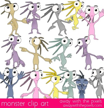 Mini Monster Clip Art Commercial Use OK 15 Color and Black