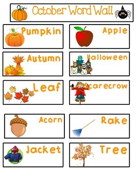 Mini Monthly Word Walls