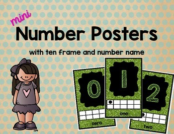 Mini Number Posters: 0-20 (Green Glitter)