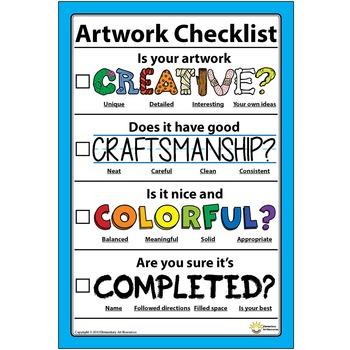 """12"""" x 18""""  Poster Artwork Checklist Visual Arts Rubric - E"""