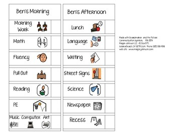 Mini Schedules Custom for Early or Special Education