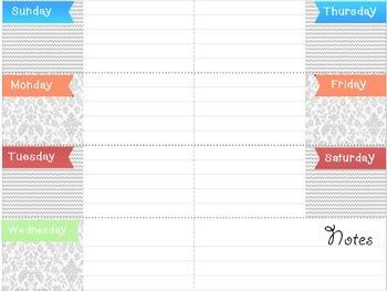 Mini Teacher Binder Weekly Calendar