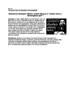 Mini lesson on rhetoric with response questions- MLK Jr an