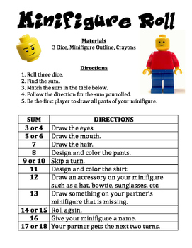 Minifigure Roll - A Math & Art Activity to Practice Adding
