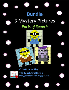 Bundle of 3 Mystery Pictures Parts of Speech