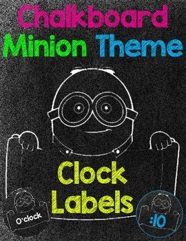 Minion Chalkboard Theme Clock Labels