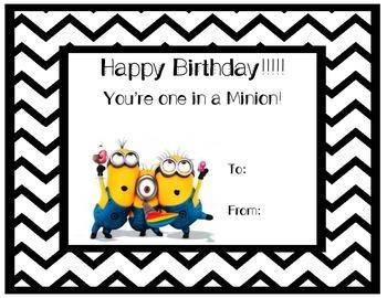Minion Happy Birthday Certificate